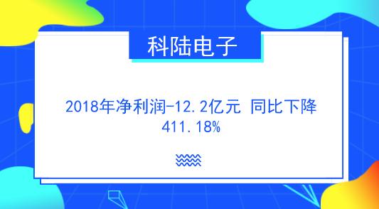 科陆电子去年净利润-12.2亿元 同比下降411.18%