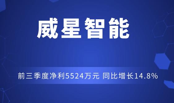 威星智能前三季度净利5524万元 同比增长14.8%