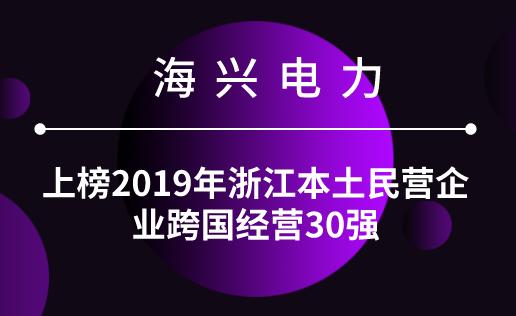 海興電力上榜2019年浙江本土民營企業跨國經營30強